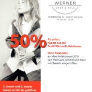 50% Rabatt auf alle Textil Winter-Kollektionen
