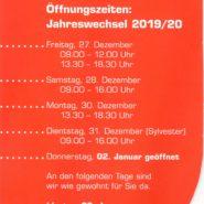 Öffnungszeiten Feiertage/Jahreswechsel 2019/20