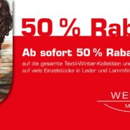 50 % auf die gesamte Textil-Winterkollektion